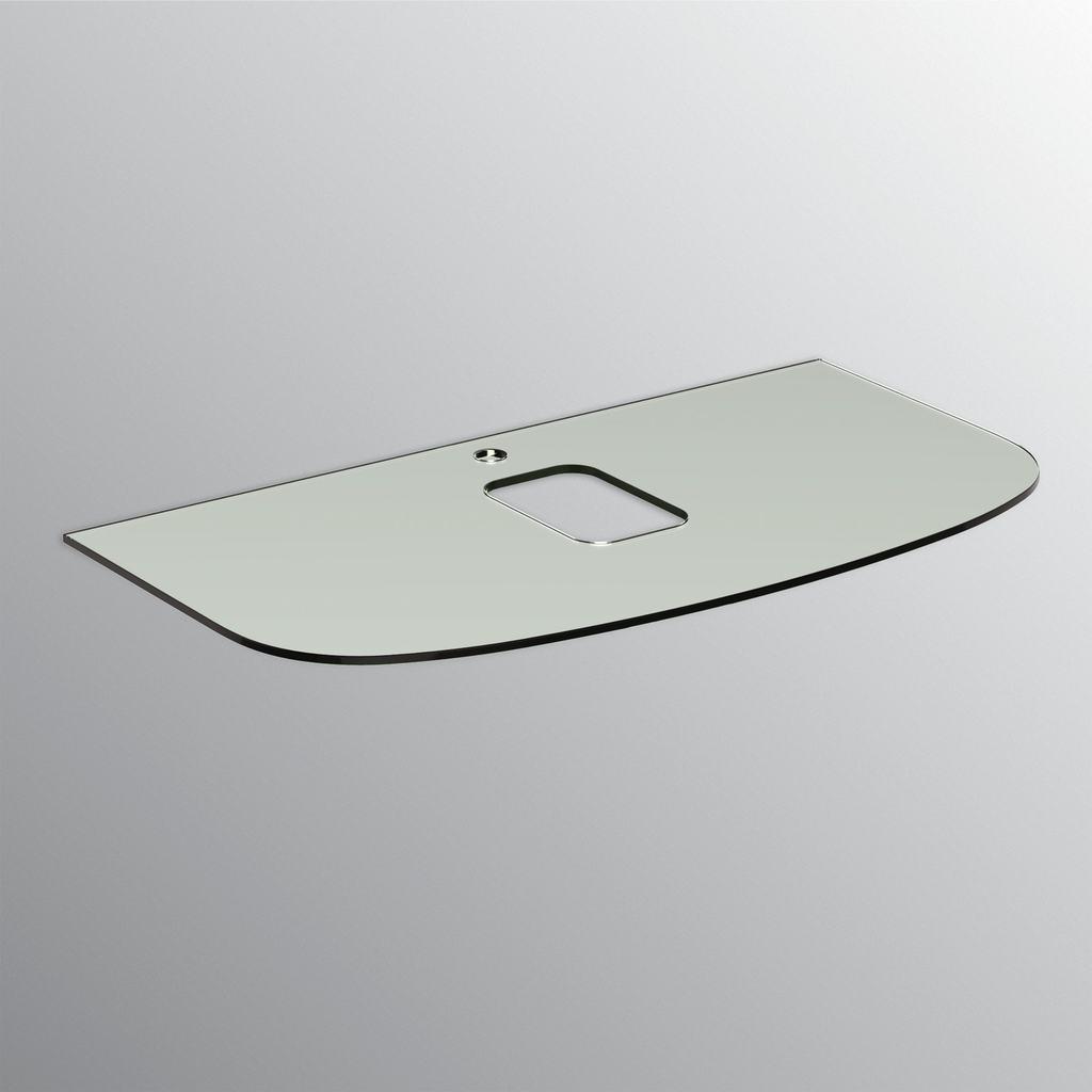 Top in vetro per lavabi da appoggio 100cm con foro