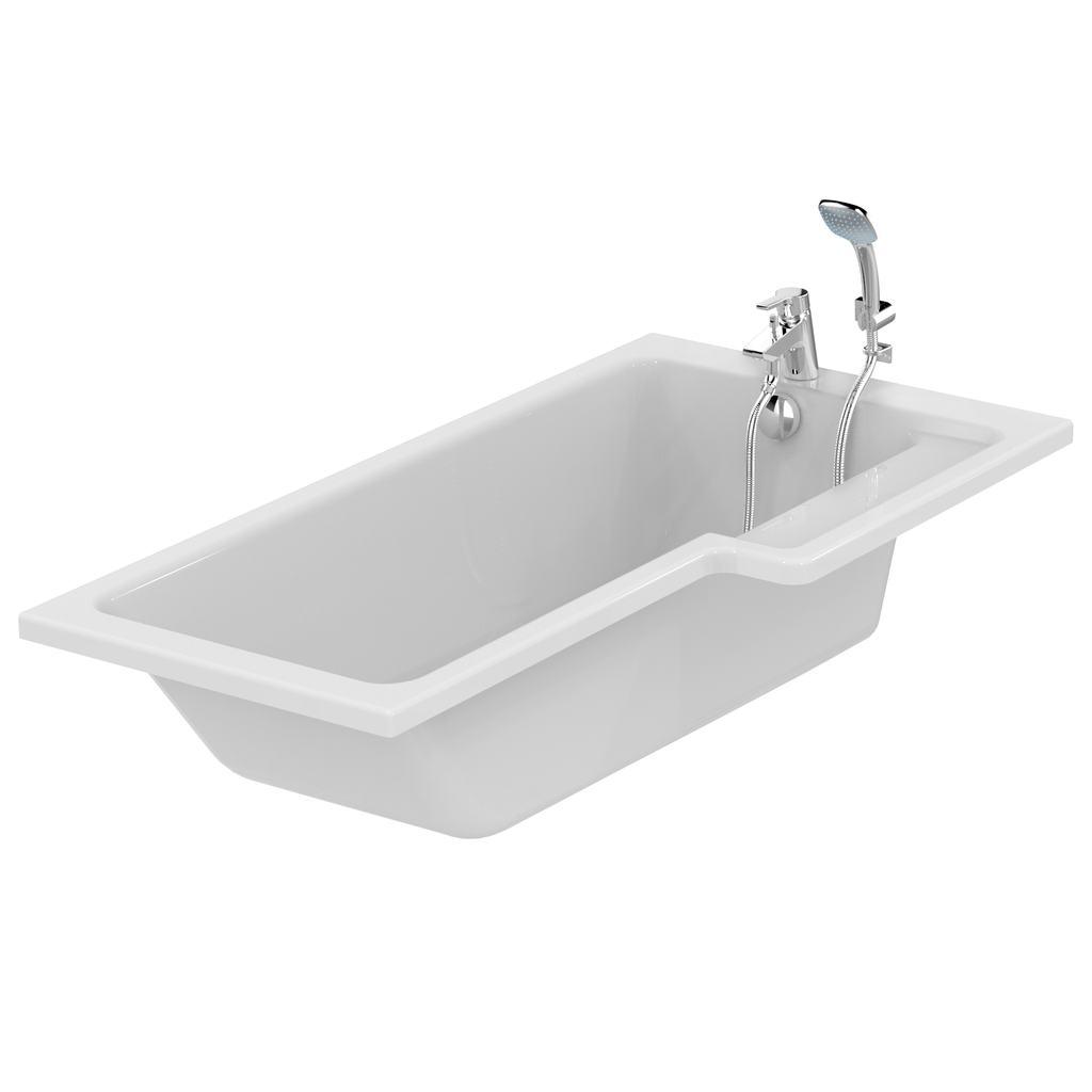 Cube 170cm Shower bath, right hand