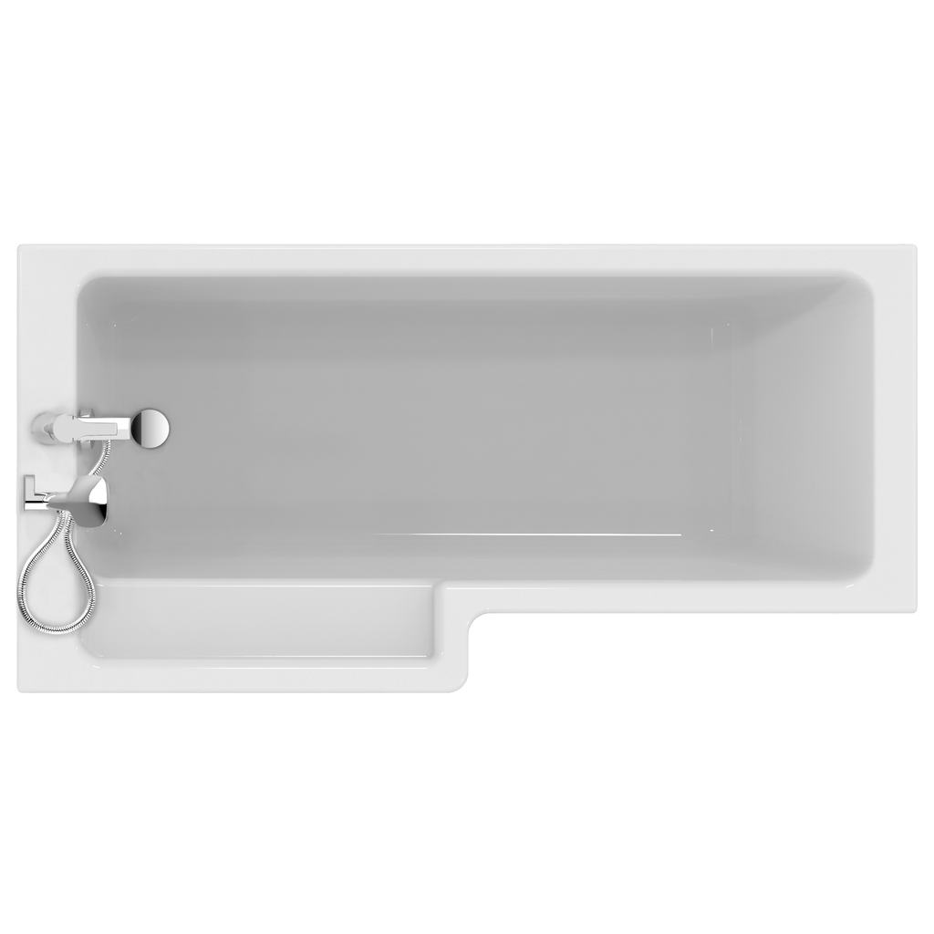 Cube 170cm Shower bath, left hand