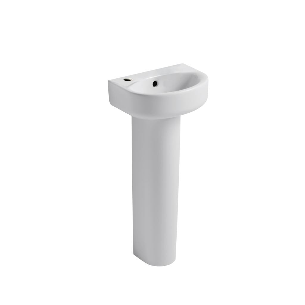 Arc 35cm Handrinse Washbasin, 1 tapholes left hand