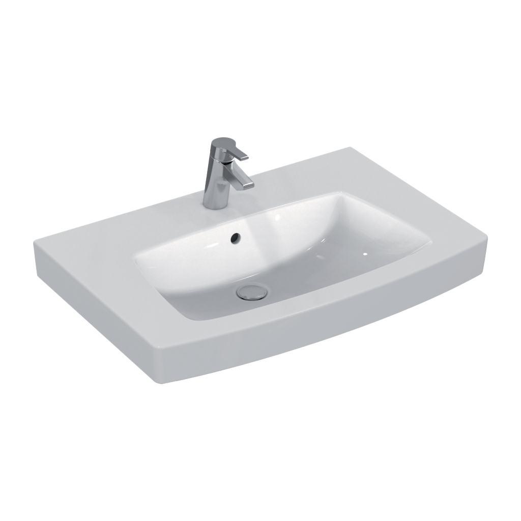 VENTUNO Умывальник 80 см. Для установки соло или с колонной/полуколонной или для встраивания в мебель (для установки IN SET)