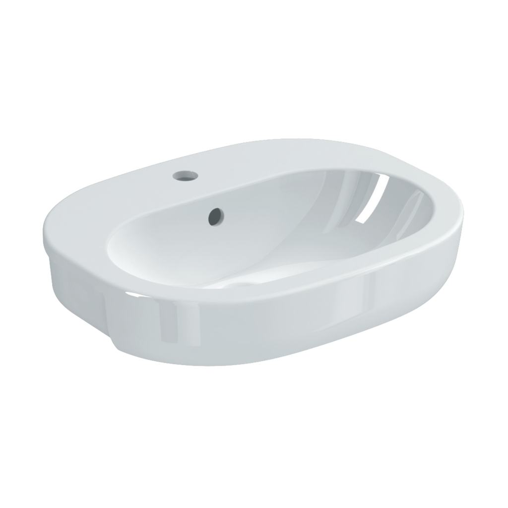 55cm Semi-Countertop Washbasin, 1 taphole