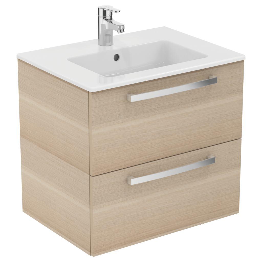 Meuble 60 cmet lavabo plan e3256 for Meuble 2 tiroirs 60 cm woodstock bois clair