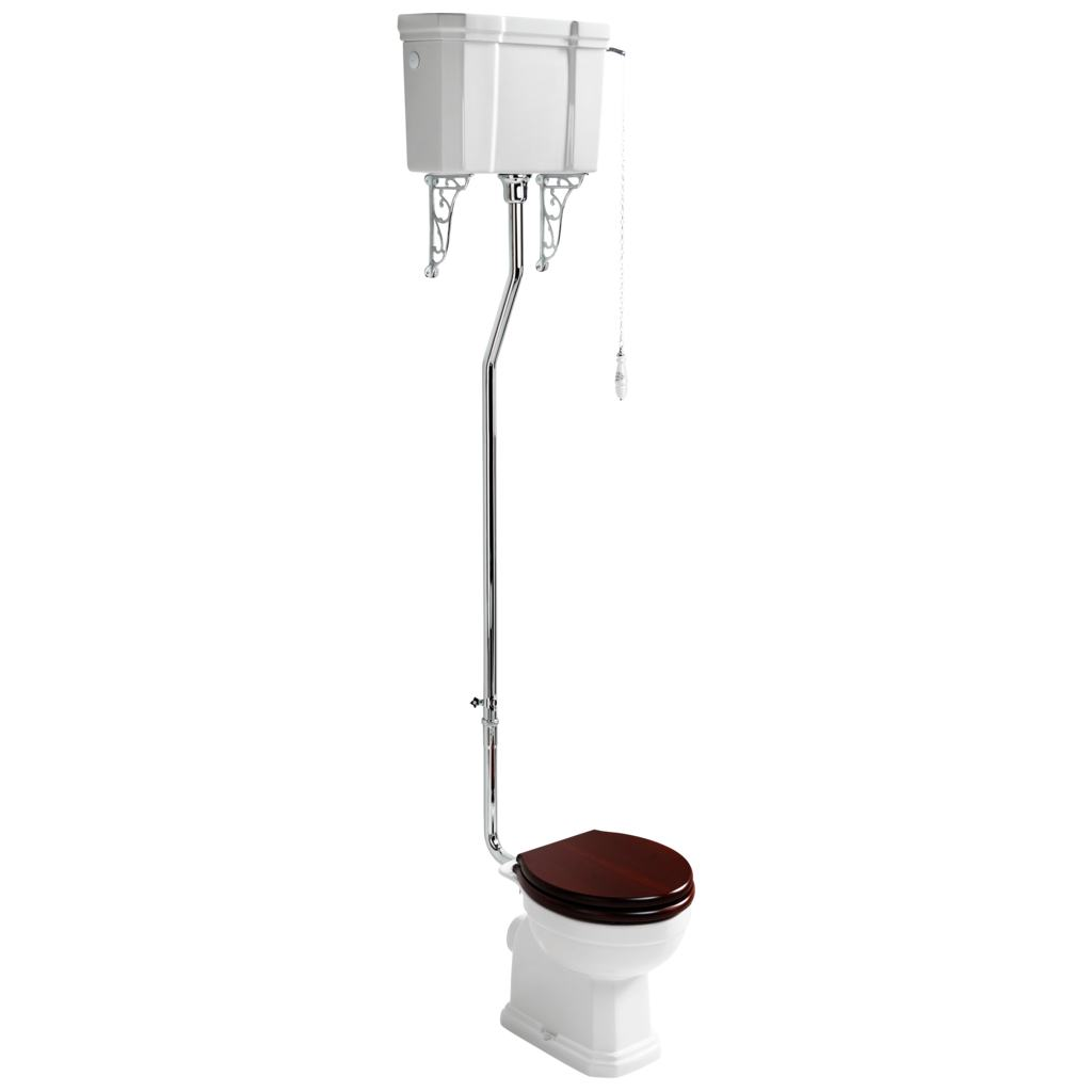 High Level Cistern with Chrome Flush Pipe and Ornate Cistern Brackets and Pull Handle and Chain