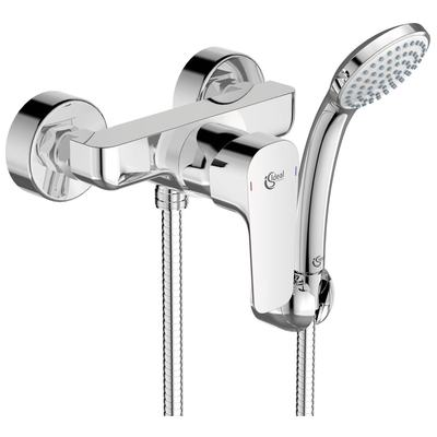 Exposed shower mixer with accessories