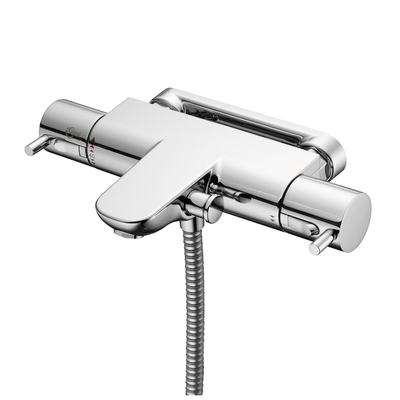Thermostatic Wall Mounted Bath Shower Mixer with Lever Handles