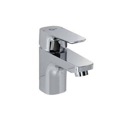 One-hole basin mixer with metal pop-up waste