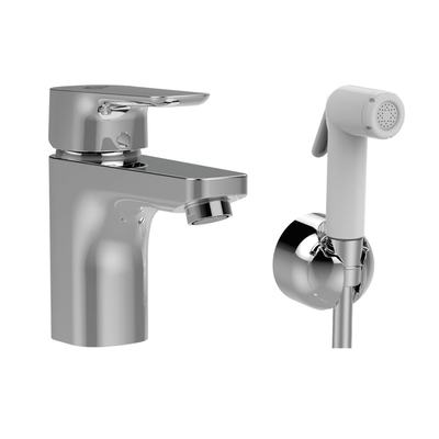 One-hole Grande basin mixer with with hygienic hand shower