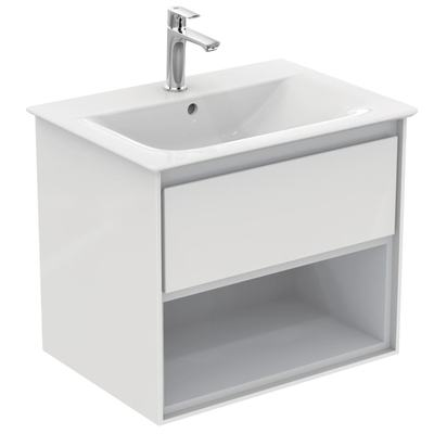 60CM Wall Hung Vanity Unit 1 drawer with open shelf