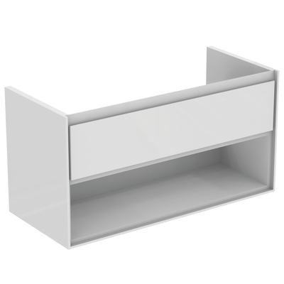 100CM Wall Hung Vanity Unit 1 drawer with open shelf