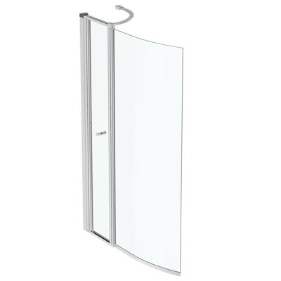 Bath Screen 89x142 cm, bright silver profile, reversible (RH + LH)