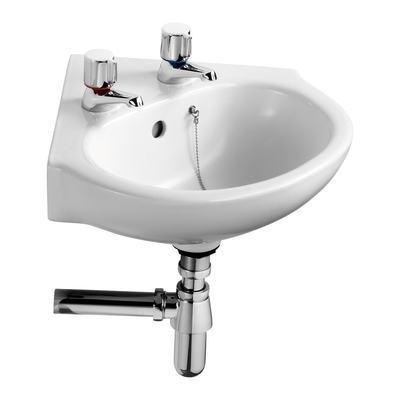 45cm Corner Washbasin, 2 tapholes