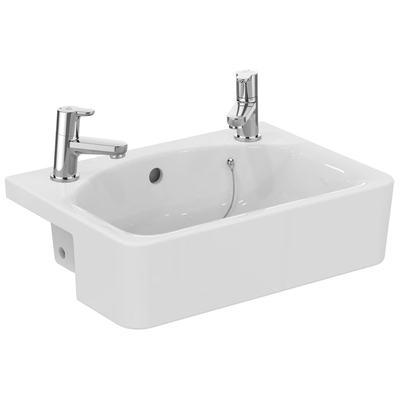 Cube 50cm Semi-Countertop Washbasin, 2 tapholes