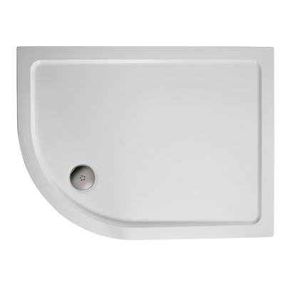 900x800mm Offset Quadrant Low Profile Shower Tray, Flat Top