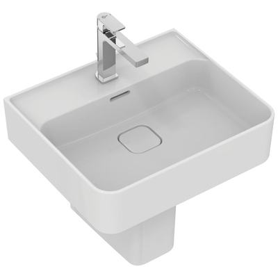Washbasin 50 cm, with tap hole, with overflow (slotted shape)