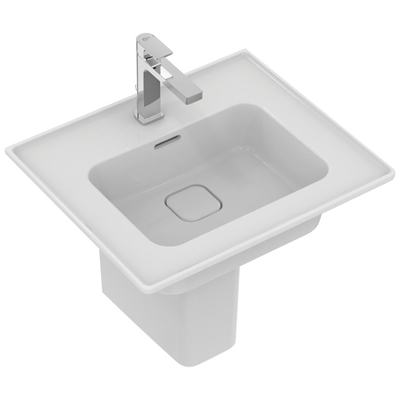 Vanity basin 54 cm, with tap hole, with overflow (slotted shape)