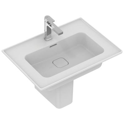 Vanity basin 64 cm, with tap hole, with overflow (slotted shape)