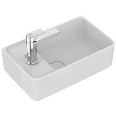 Handwash basin 45 cm, Left tap hole punched, with overflow (slotted shape)