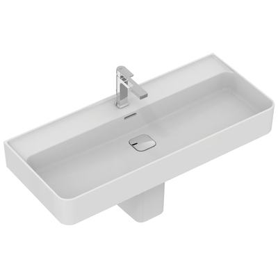 Washbasin 100 cm, with tap hole, with overflow (slotted shape)