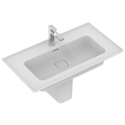 Vanity basin 84 cm, with tap hole, with overflow (slotted shape)
