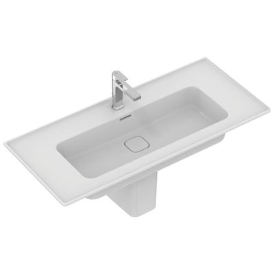 Vanity basin 104 cm, with tap hole, with overflow (slotted shape)
