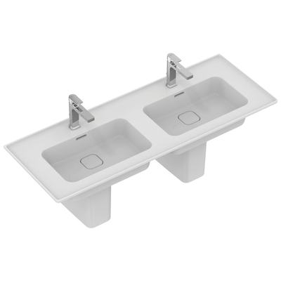 Double vanity basin 124 cm, with 2 tap holes, with overflows (slotted shape)