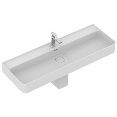 Washbasin 120 cm, with 1 tap hole punched, with overflow (slotted shape)