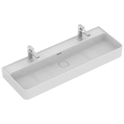 Washbasin 120 cm, with 2 tap holes punched, with overflows (slotted shape)