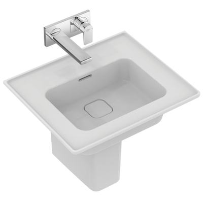 Vanity basin 54 cm, without tap hole, with overflow (slotted shape)