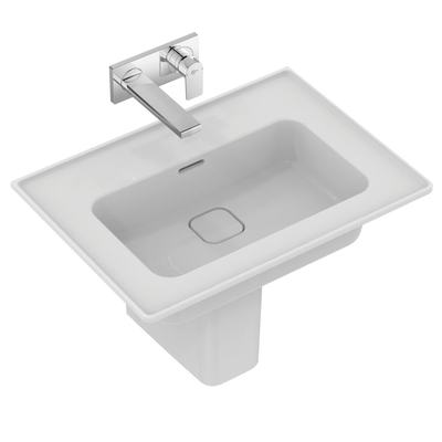 Vanity basin 64 cm, without tap hole, with overflow (slotted shape)