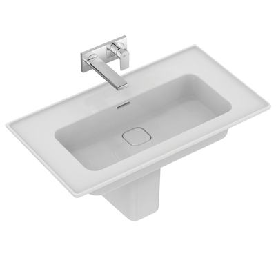 Vanity basin 84 cm, without tap hole, with overflow (slotted shape)