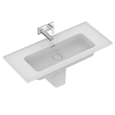 Vanity basin 104 cm, without tap hole, with overflow (slotted shape)