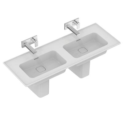 Double vanity basin 124 cm, without tap holes, with overflows (slotted shape)