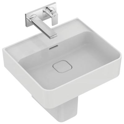 Washbasin 50 cm, without tap hole, with overflow (slotted shape)