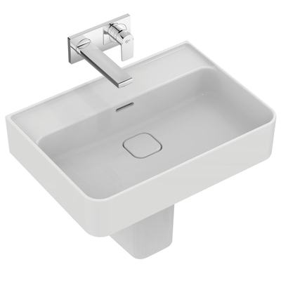 Washbasin 60 cm, without tap hole, with overflow (slotted shape)