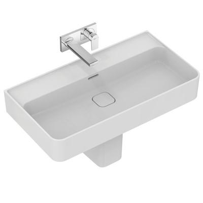 Washbasin 80 cm, without tap hole, with overflow (slotted shape)
