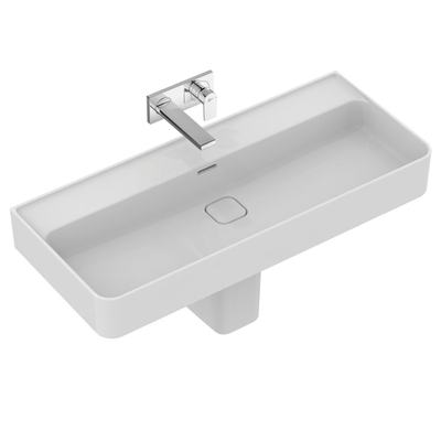 Washbasin 100 cm, without tap hole, with overflow (slotted shape)