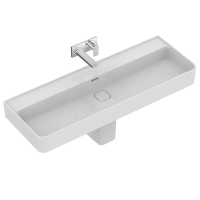 Washbasin 120 cm, without tap hole, with overflow (slotted shape)