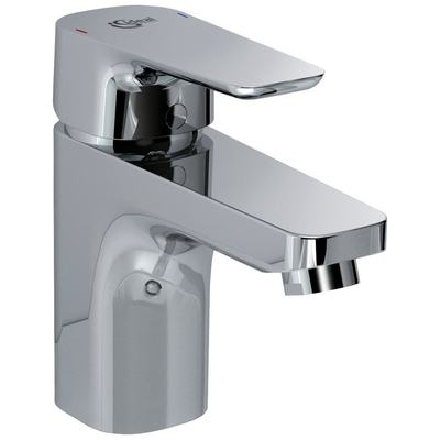 One-hole basin mixer Grande with metal pop-up waste