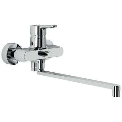 Bath&shower exposed mixer with long tubular spout