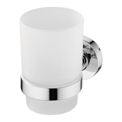 IOM Стъклена чаша с държач - матово стъкло Хром
