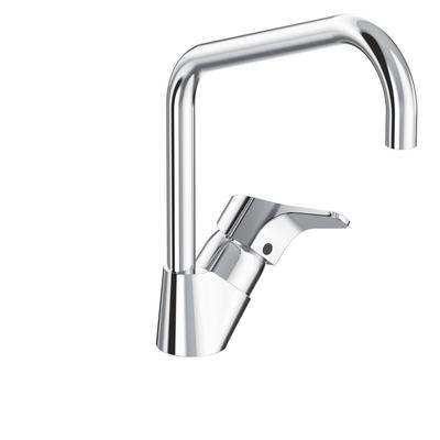 One-hole kitchen mixer with high spout, without pop-up waste Chrome