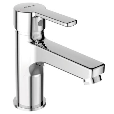 One-hole Grande basin mixer with push-to-open Click-Clack waste Chrome