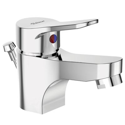 One-hole basin mixer with plastic pop-up waste Chrome