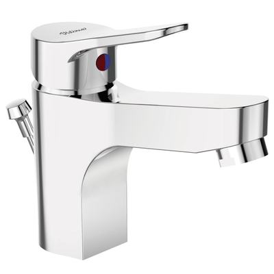 One-hole basin mixer Grande with plastic pop-up waste  Chrome