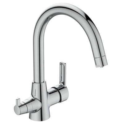 2-water-way spout kitchen mixer rim mounted  for combination with filter Chrome
