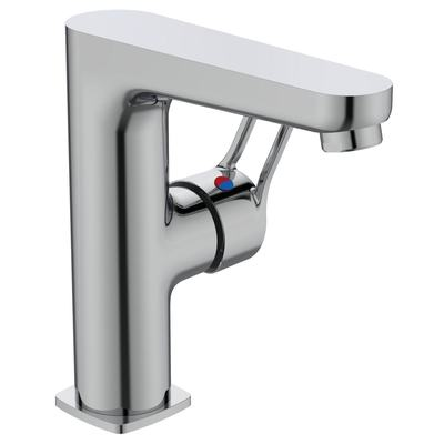 High spout basin mixer with Click waste Chrome
