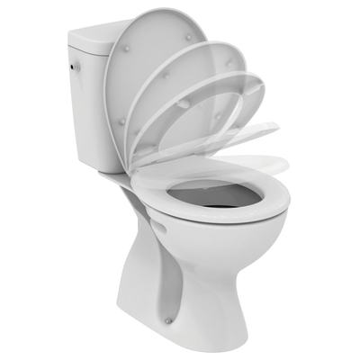 WC Combination,  vertical outlet, soft-close seat Euro White