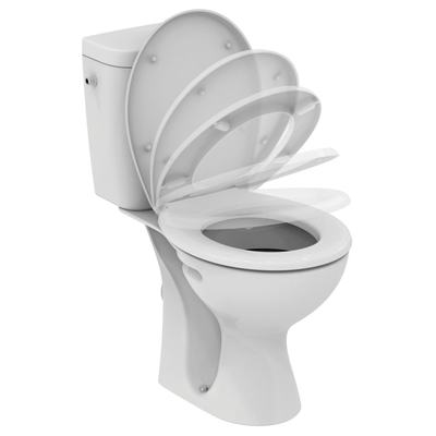 WC Combination,  horizontal outlet, soft-close seat Euro White
