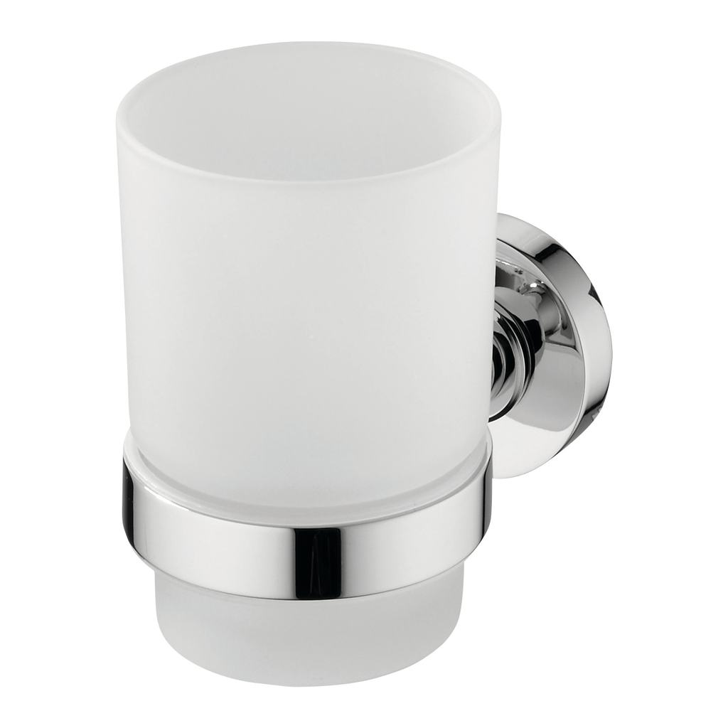 Frosted Glass Tumbler & Holder
